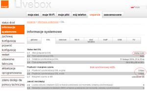 Neostrada brak synchronizacji - informacje Livebox