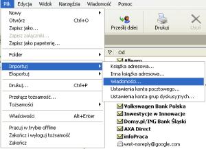 Outlook Express - importowanie wiadomości