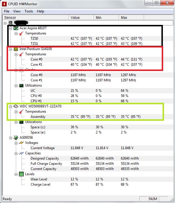 temperatura komputera w programie HWMonitor