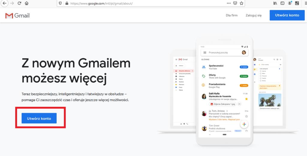 nowy adres gmail / nowe konto email