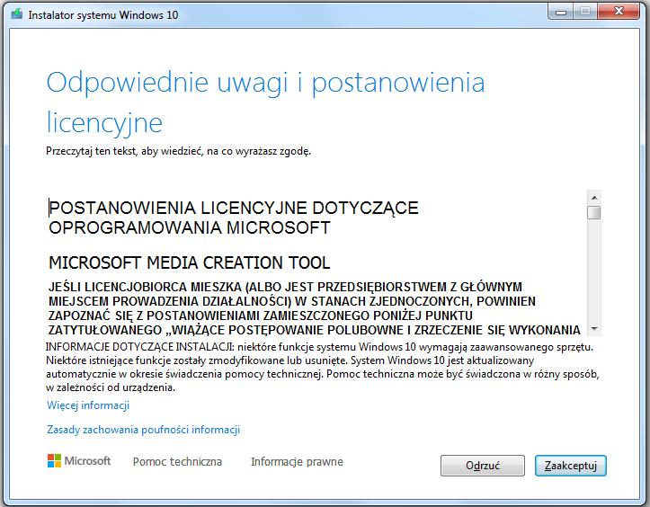 Instalacja Windows 10 - akceptacja licencji