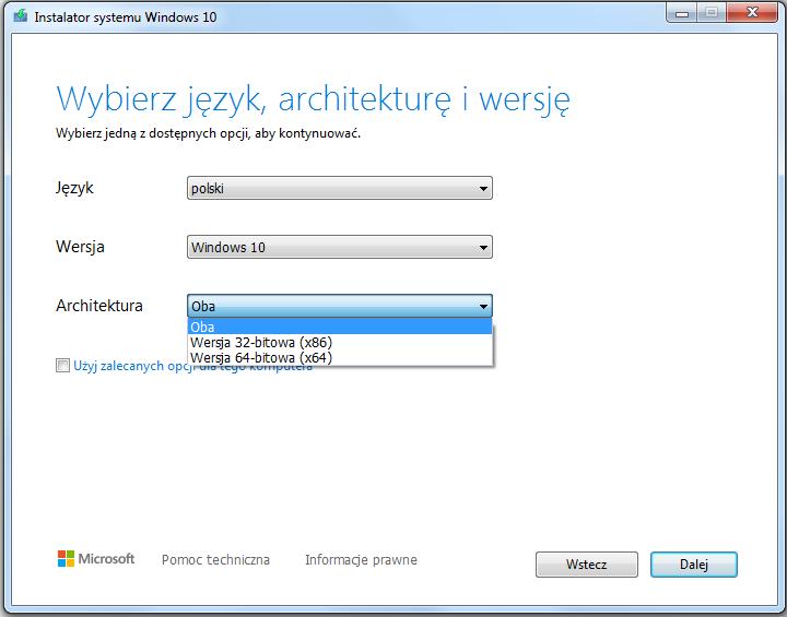 Instalacja Windows 10 wybór języka i wersji systemu