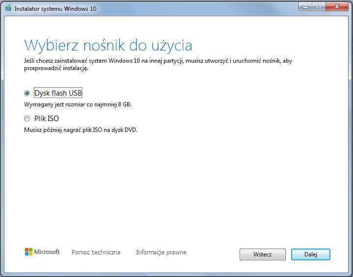Instalacja Windows 10 wybór nośnika USB