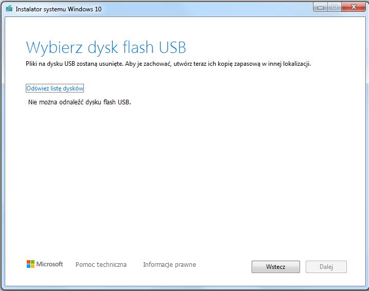 Instalacja Windows 10 brak nośnika USB